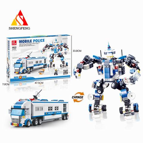 mobile police toys for block toys police robot car