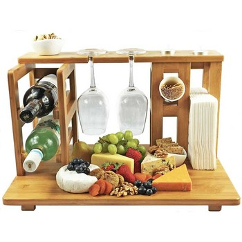 easy assembly Bamboo Wine & Cheese Board