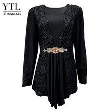 Женская блузка YTL размера плюс, винтажная весенне-осенняя кружевная блузка с цветочным узором, хлопковая туника с длинными рукавами, рубашк...(Китай)