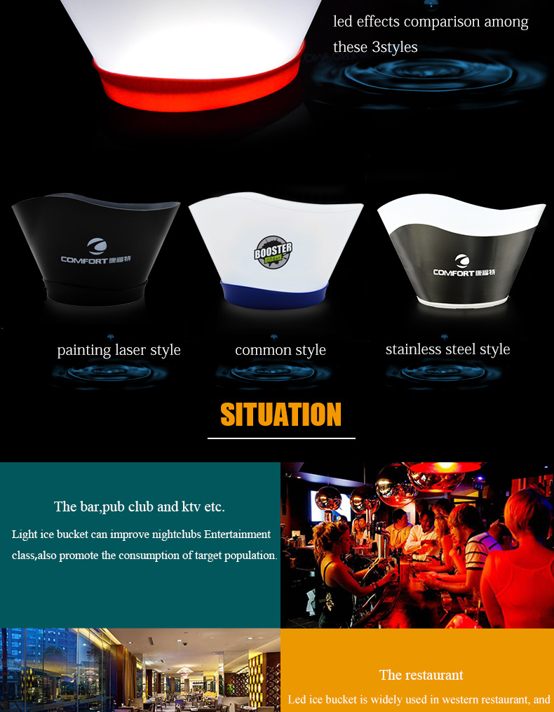 China factory customized promotional items gift rechargeable champagne led ice bucket