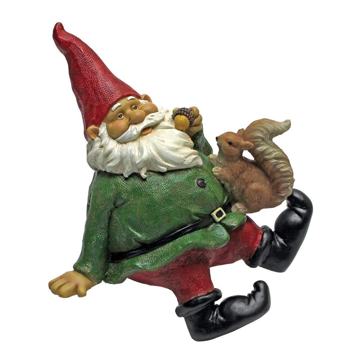 Design Toscano Garden Gnome Statue - Osbert the Garden Gnome Shelf Sitter - Outdoor Garden Gnomes - Funny Lawn Gnome Statues