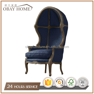 Dark blue Living room chairs for TV room French countryside occasional egg chairs with High back