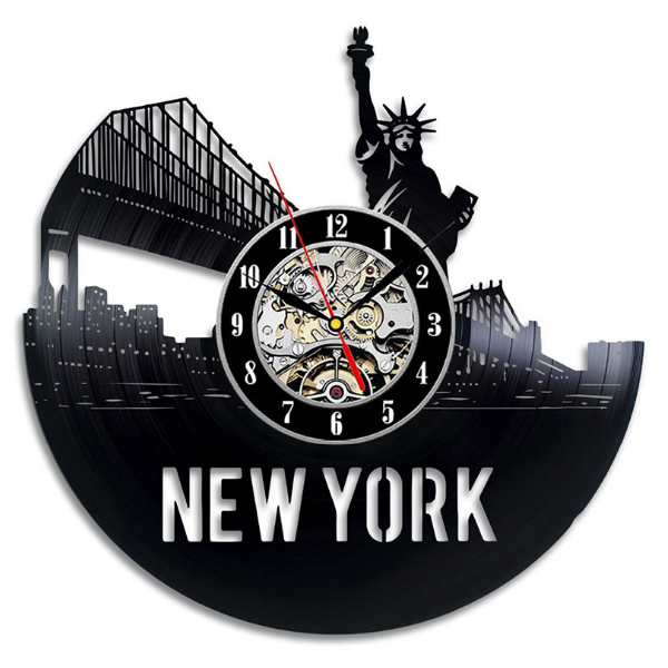"United State New York Cityscape Decorative Wall Clock 12"" Vintage Vinyl Clock LP Record black Digital Clock Timepiece Home Decor"