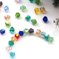 AAA Best Quality Flat Both Sharp Shiny Colors Bicone Crystal Glass Bead for Crystal Glass Jewelry Decoration