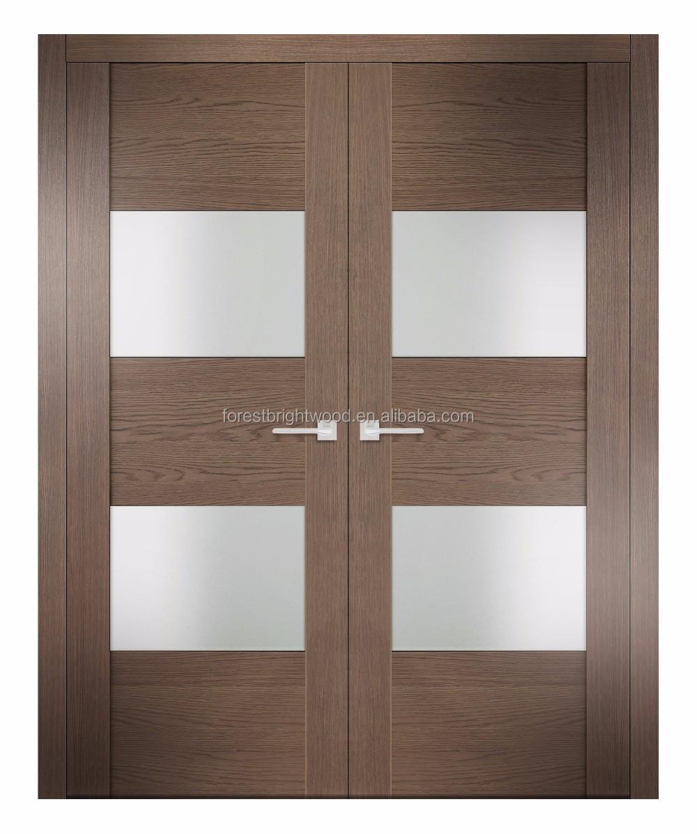 Modern Frosted Glass Interior Wooden Bedroom Doors