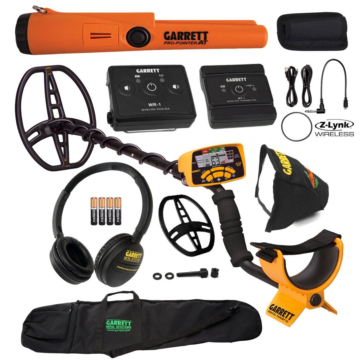 Garrett ACE 400 Metal Detector w/ Z-Lynk Wireless System, Pro Pointer AT & Bag