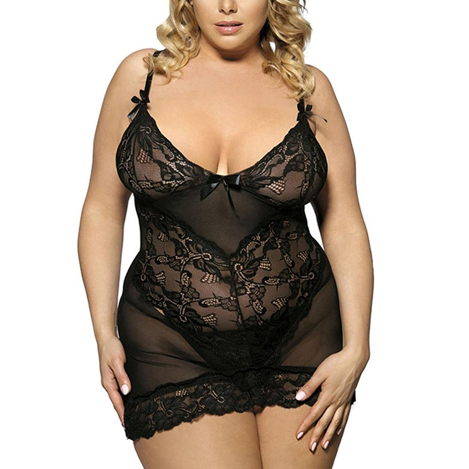 08c3e59fd Get Quotations · Tootu Women Fashion Plus Size L-5XL Sexy Lace Sleepwear  Plus Size Uniforms Temptation Nightwear
