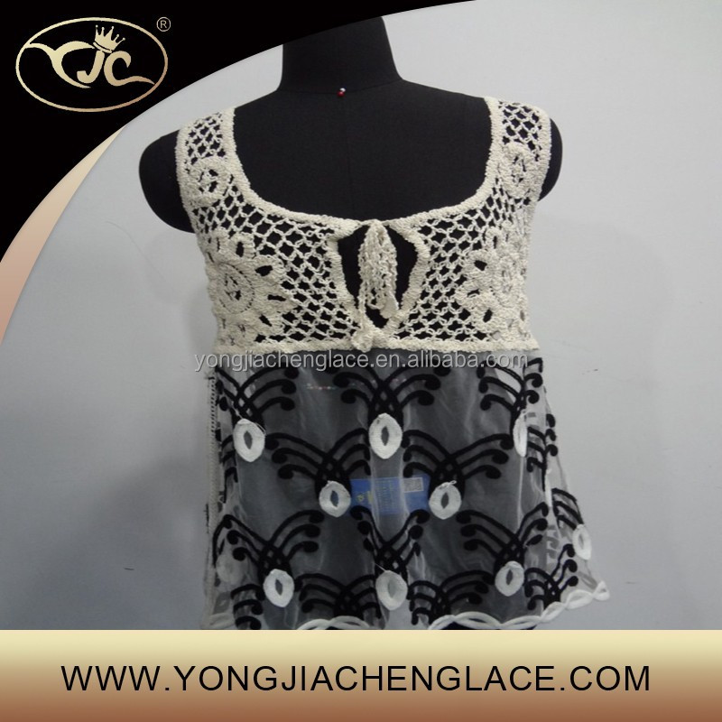 Fashion hot sales latest embroidery ladies lace crop top