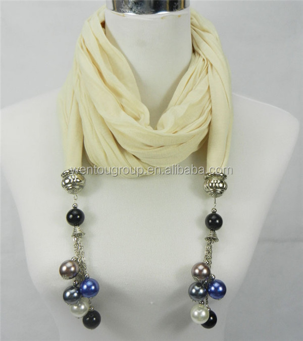 Fashion Jewelry Scarf Necklaces With Beads