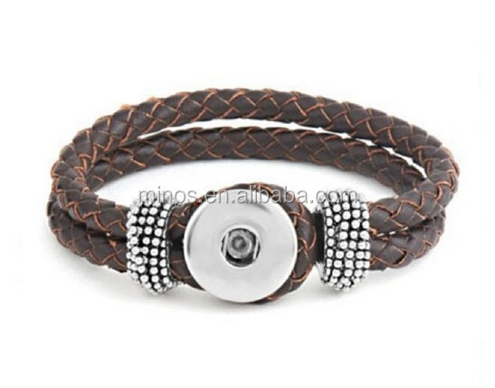 Leather Snap Bracelet, Snap Brown Double Braided Bracelet Interchangeable Jewelry Snap Accessory