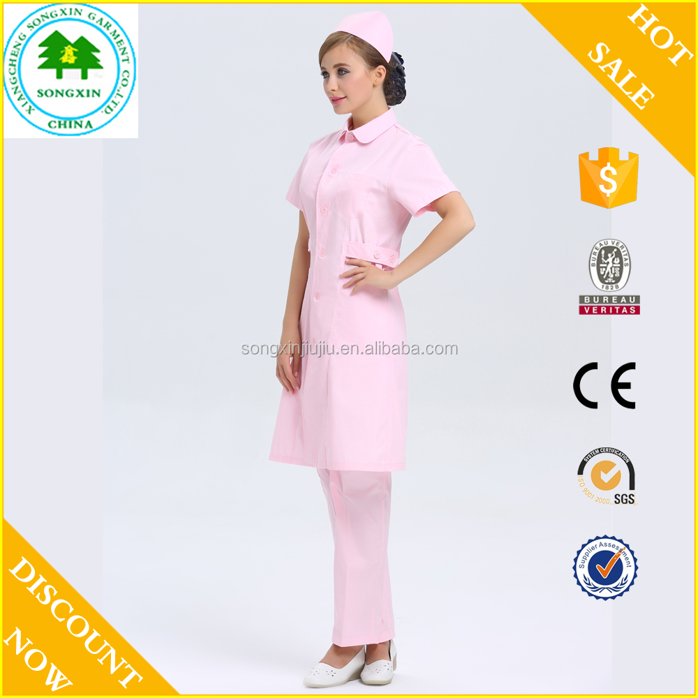 latest fashion dress pink cotton hospital nurse uniform designs