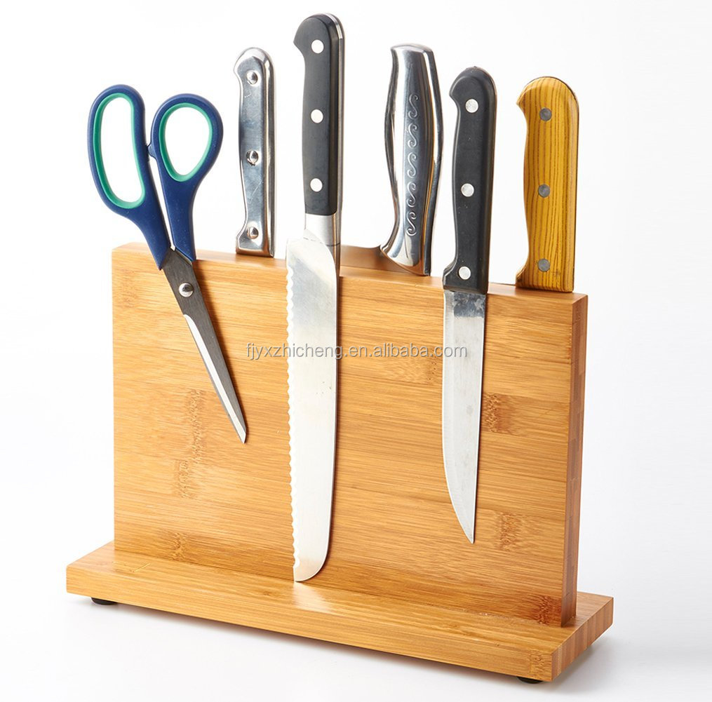 Eco-friendly Magnetic kitchen Cutlery Knife Block/ All Natural Wood Cutlery Display Stand and Storage Rack