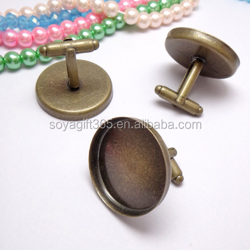 25mm Antique Bronze Round Blank Cufflink Base For Glass Cabochon Bezel Setting