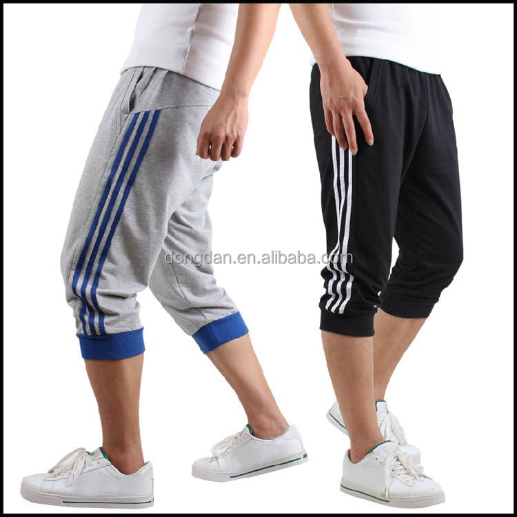 both sides with stripe 100%cotton mens short pants 3/4 pants and half pants with low price
