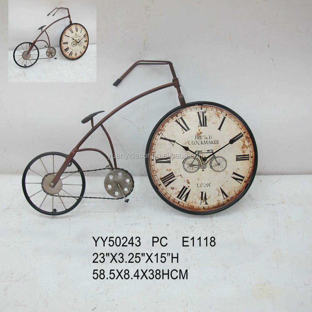 fiets vorm metalen klok voor wanddecoratie groothandel