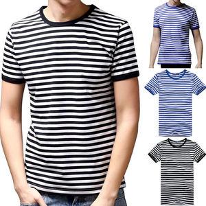 Fashion Summer Mens Striped Tshirt Crew Neck Casual T shirt 100% Cotton