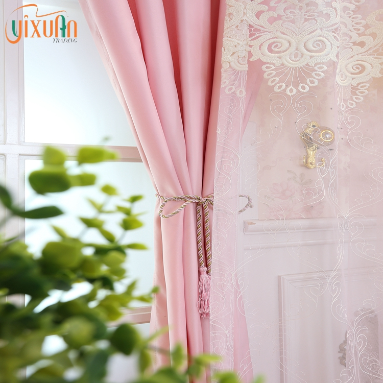 Hometextile new design tulle voile 100% polyester sheer red curtains