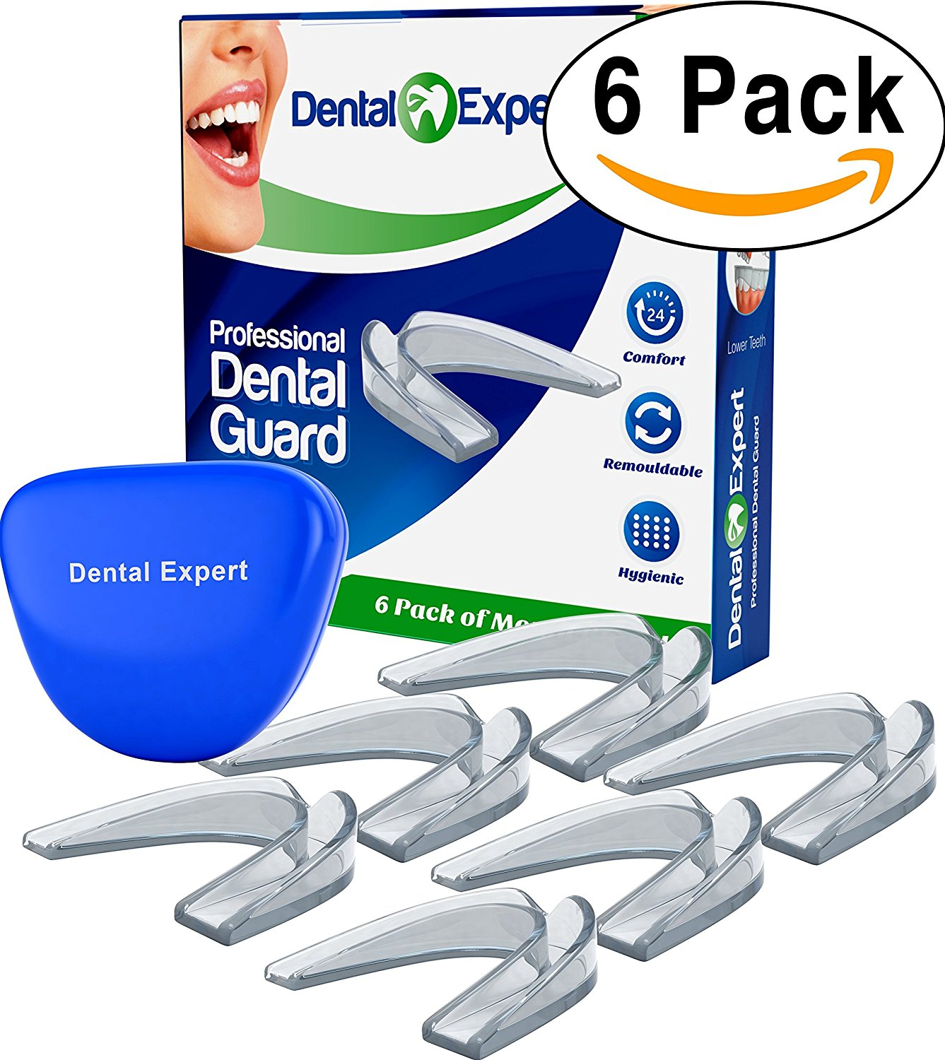 Dental Expert Mouth Guard with Case - 6 Pack - Anti Grind