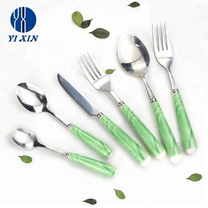 Promotion mirror polish stainless steel stone marbling ceramic handle dessert cake fruit gift knife fork cutlery set