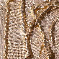 XULIN Bag Garment Metallic Sequin Gold Aluminum Gold mesh Mesh Metal Fabric for Clothing Curtain