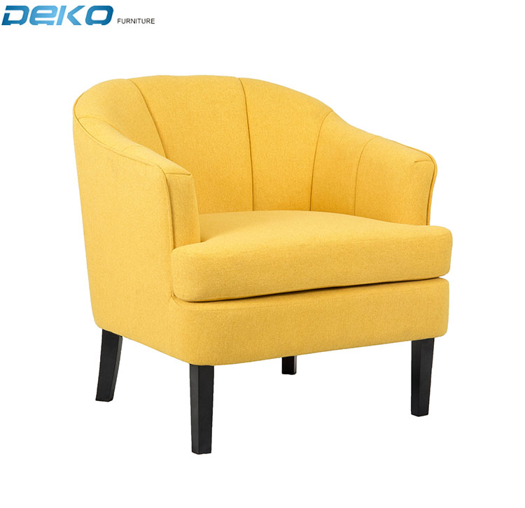 Yellow Fabric Accent chair, Upholstered Armchair with wooden legs