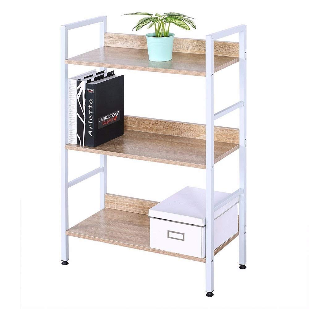 Qiaonai(TM Bookcase Headboard 3 Tiers Bookshelf Beautiful Corner Bookcase Display Rack White Wood and Metal Made