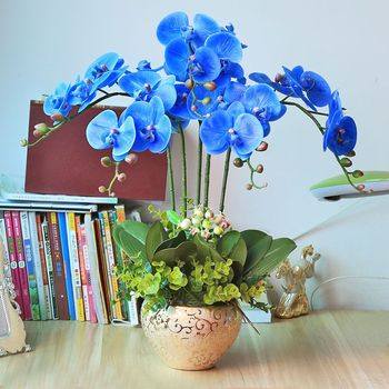 High Quality PU Artificial Blue Orchid Plants Flowers In Vase Vanda For Indoor Decoration