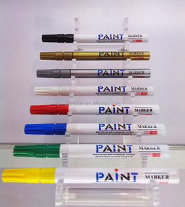 8 standard colors red blue silver green yellow printed plastic barrel paint marker