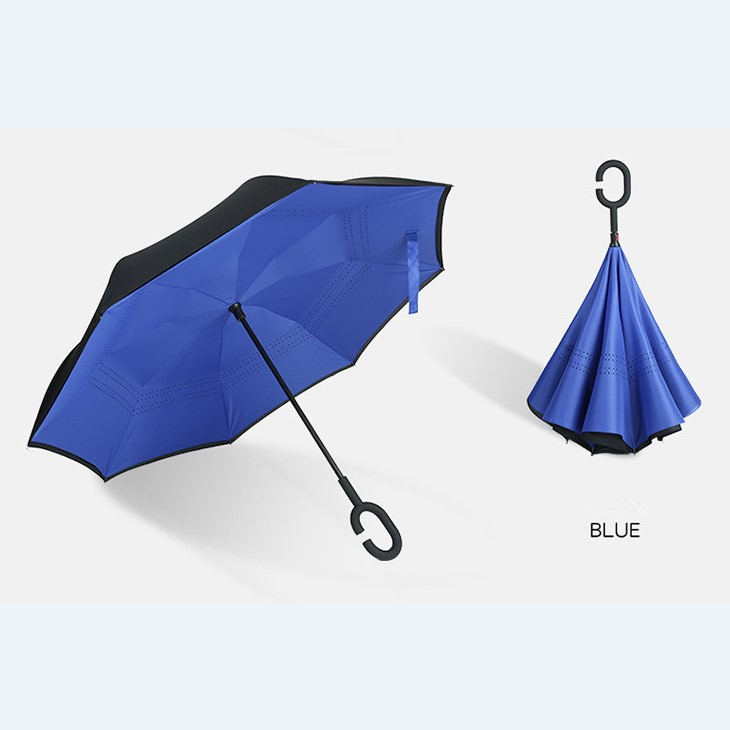 High Quality Promotional 23Inch 8Ribs Windproof Manual Open Reverse Umbrella with C Handle