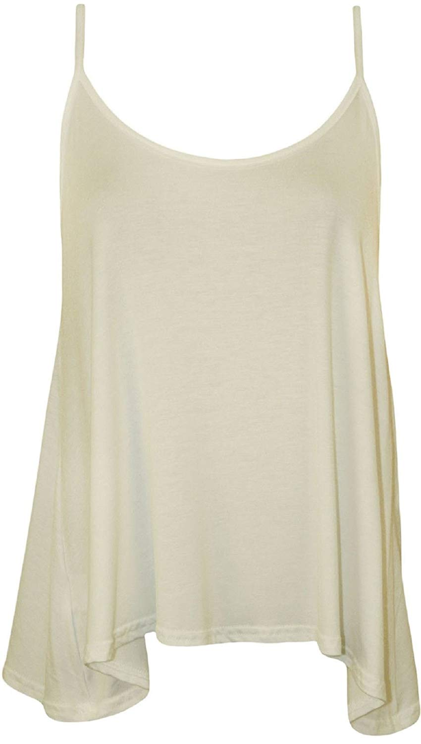 Rimi Hanger Womens Plain Strappy Camisole Swing Vest Top Ladies Sleeveless Flared Fancy Top S/3XL