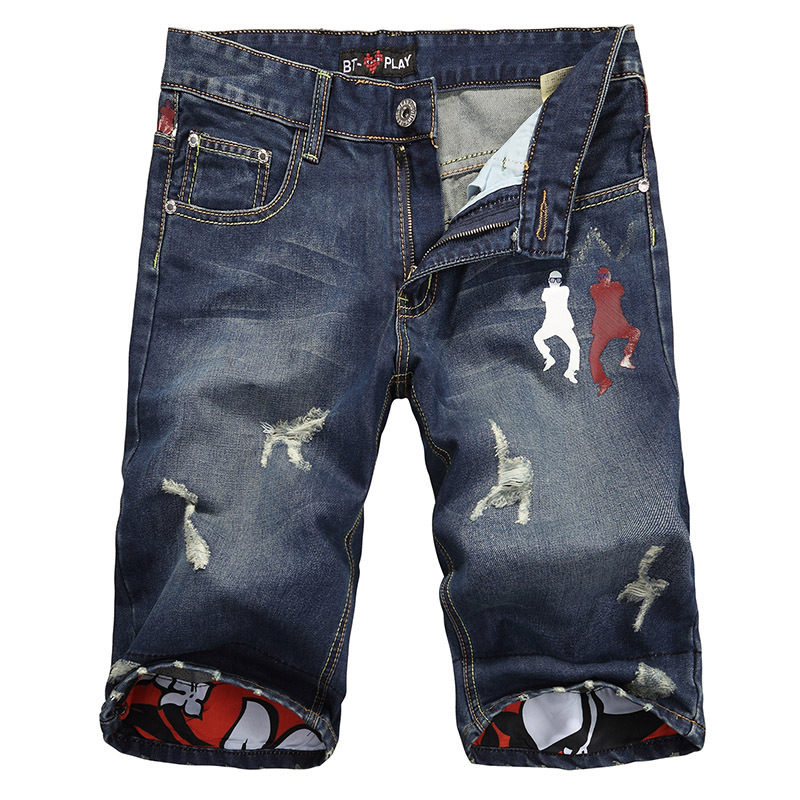 7b21e0a49e Get Quotations · Casual Summer Men Printed Ripped Loose Cotton Denim  Straight Shorts Fashion Distressed Jeans Shorts For Male