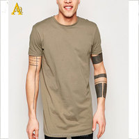china high quality Custom mens tall tee extra long side zip t shirt