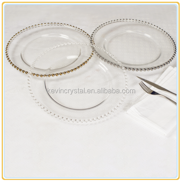 silver/gold beaded clear glass charger plates/hotel used dinner plates/dinner plates for weddings