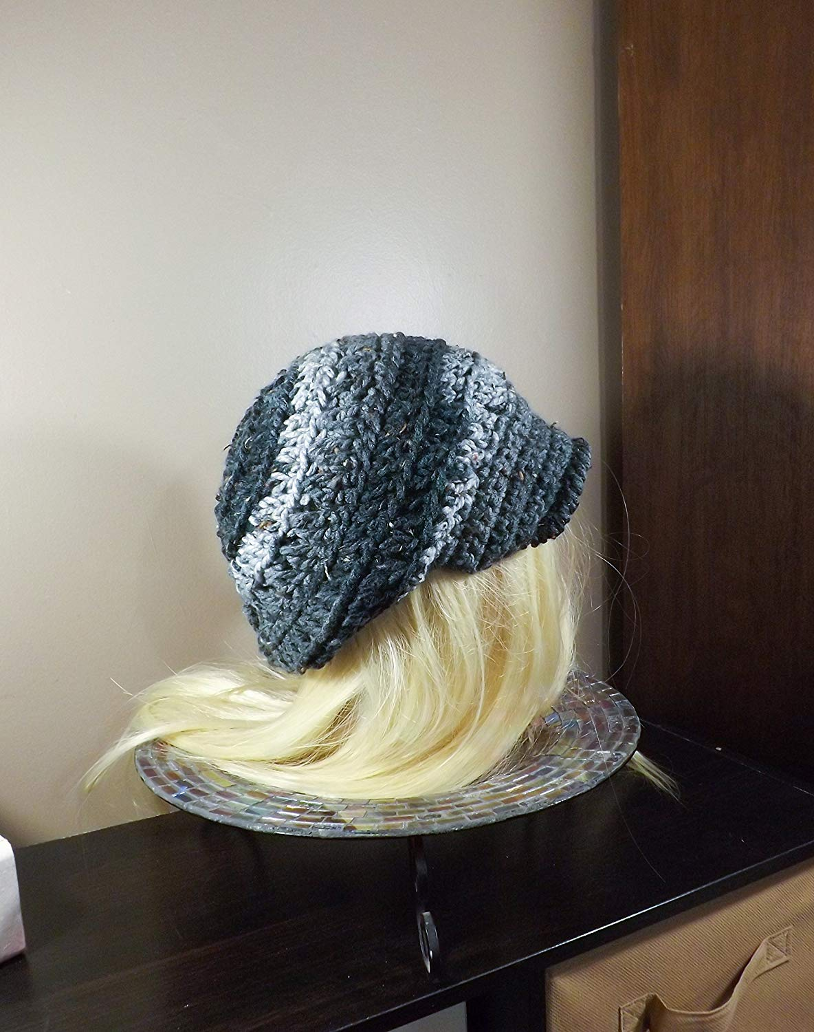Get Quotations · Black and Grey Slouchy Newsboy Hat f66f04527ef5