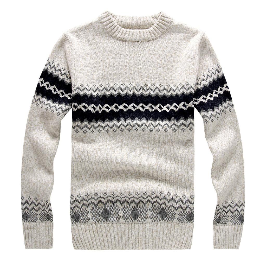 New Fashion Round Collar Korean Mens Woolen Jacquard Sweater Design