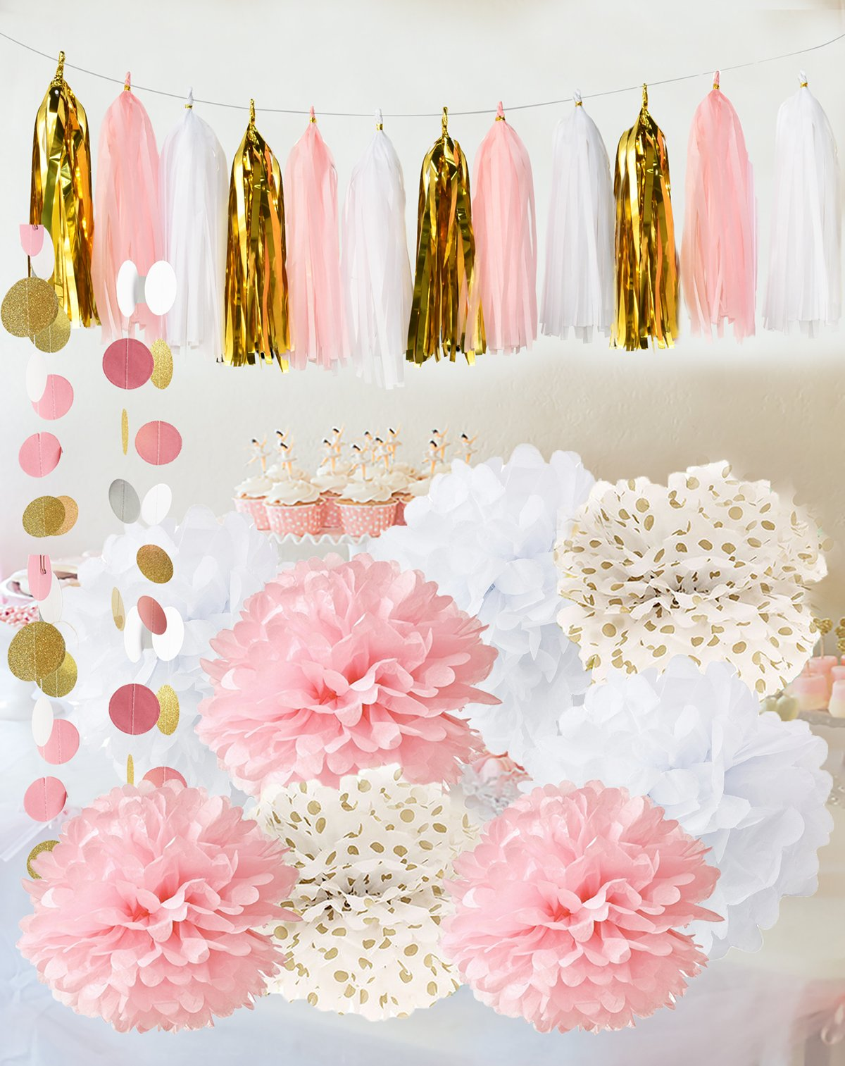 Qians Party Baby Pink Gold White Shower Decorations For Girl First Birthday