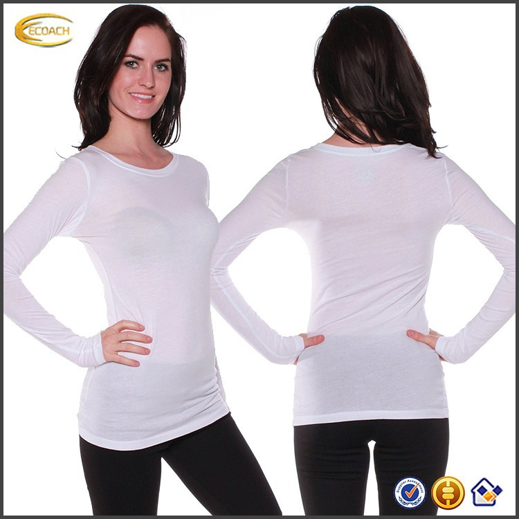 faa0c4c3c504 Ecoach Apparel Women Outwear Athletic Fitted Plain Long Sleeves Round Crew  Neck T Shirt Top - Buy Crew Neck T Shirt Top