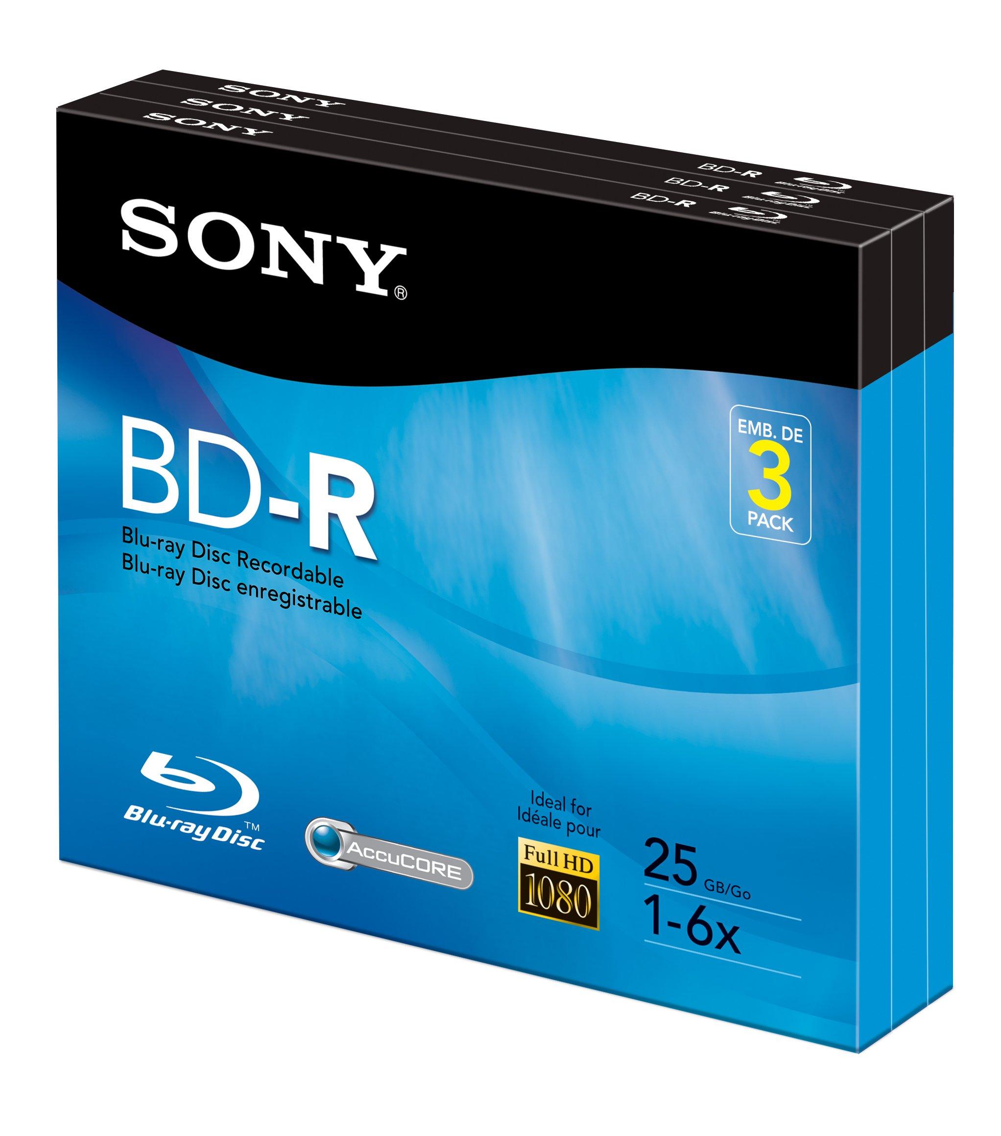 Sony 3BNR25R3H 6x 25GB Recordable Blu-Ray Disc - 3 Pack