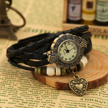 Western Black genuine leather wrist watches fashion wholesale quartz leather wrist watch