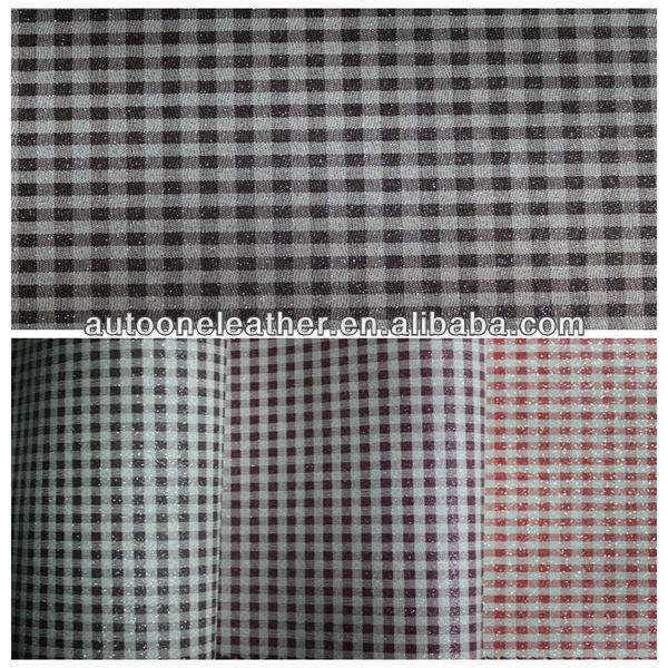 Plaid pattern printed shiny surface dry process PVC synthetic leather TB0024