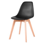 13191plastic dining chair leisure chair furniture PP seat with wood leg Hot selling modern PP material plastic restaurant dining