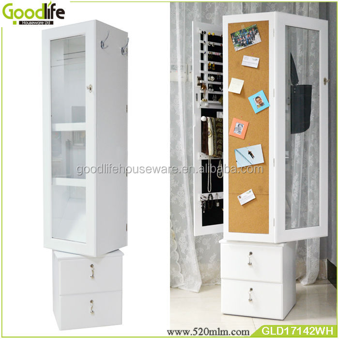 moderne grand tournant armoire miroir bijoux organisateur. Black Bedroom Furniture Sets. Home Design Ideas