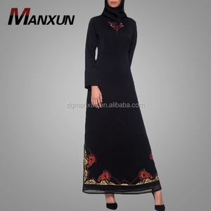 2018 Embroidered formal muslim evening dresses abaya black islamic clothing jilbab
