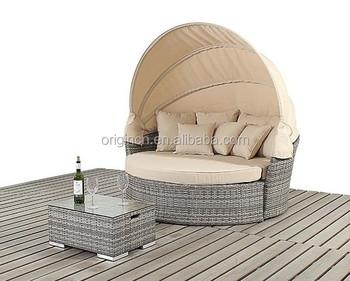 Liegemöbel runde bett design günstige balkon rattan liege möbel sonnenliege mit