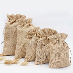Promotional Factory wholesale Custom gift burlap small jute drawstring bag
