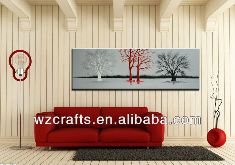 Abstract tree on canvas hanged on the wooden wall