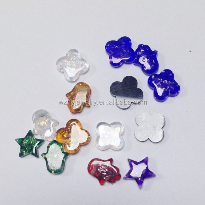 Double Flat Four-Leaf Clover Resin material Synthetic Opal Stone