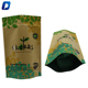 Natural green tea packaging pouch brown kraft paper stand up bag with zip lock and clear window