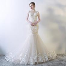 WDLI-2011 Mermaid Gown with Crystal Beaded Bodice Latest Wedding Gown Designs