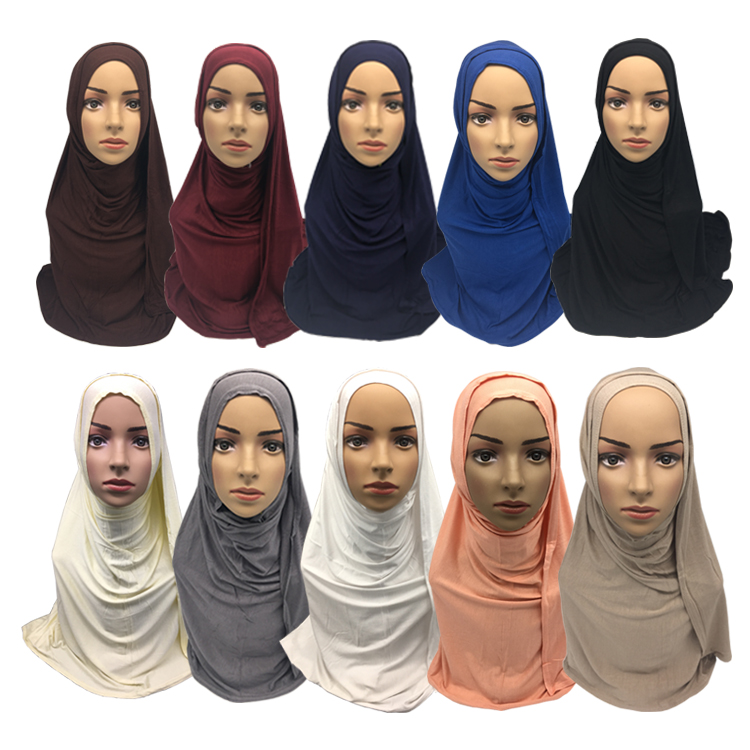 Four layers brim 95% cotton 5% spandex stretch muslim under hijab solid color